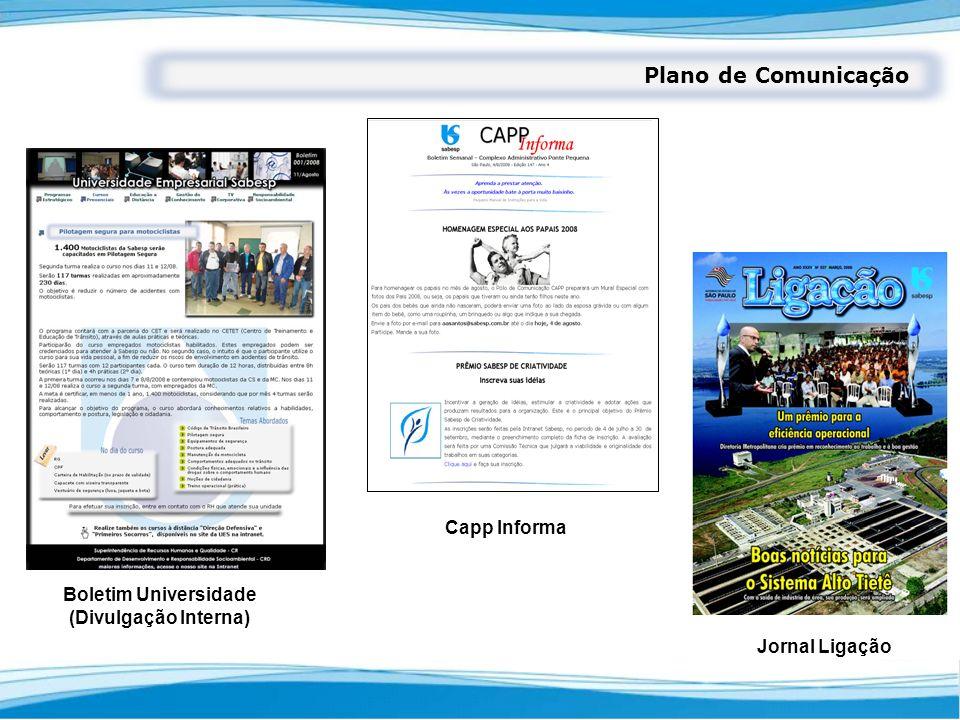 Plano de Comunicação Boletim Universidade (Divulgação Interna) Capp Informa Jornal Ligação