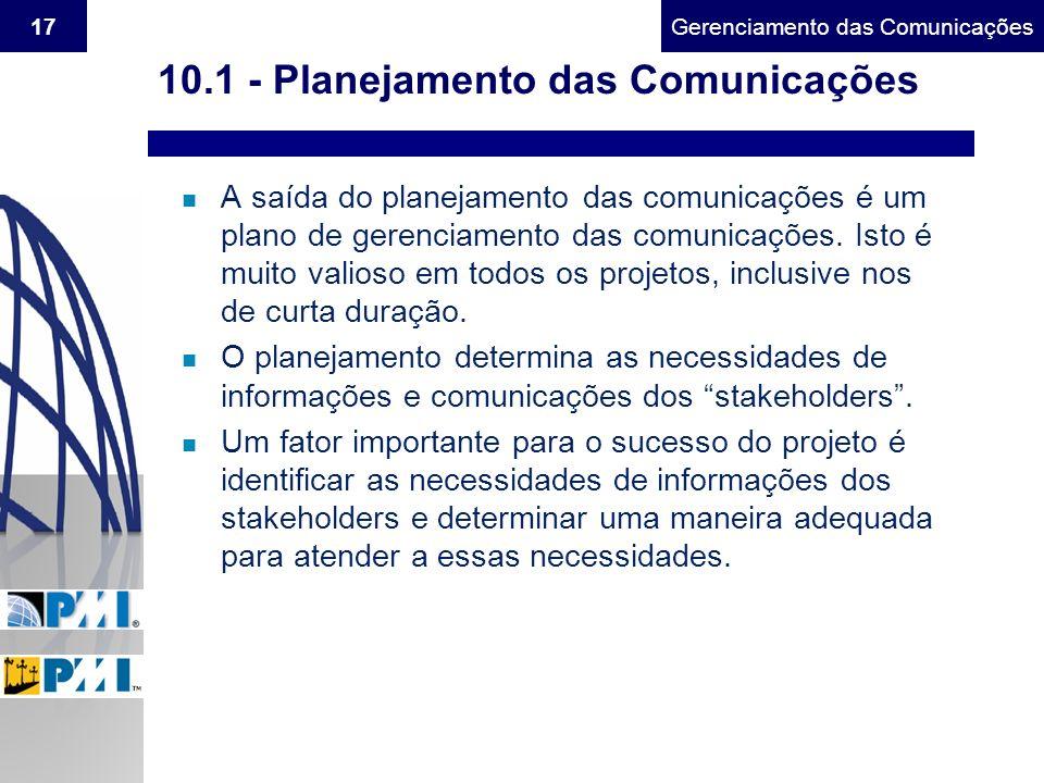 Gerenciamento do Escopo17Gerenciamento das Comunicações 10.1 - Planejamento das Comunicações n A saída do planejamento das comunicações é um plano de
