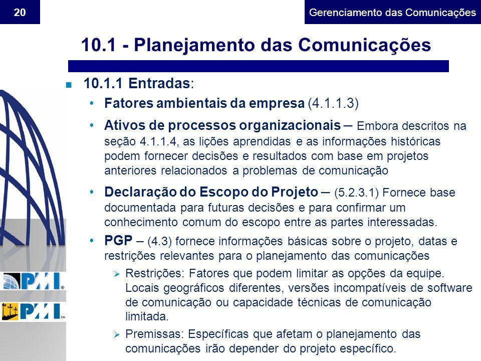 Gerenciamento do Escopo20Gerenciamento das Comunicações n 10.1.1 Entradas: Fatores ambientais da empresa (4.1.1.3) Ativos de processos organizacionais