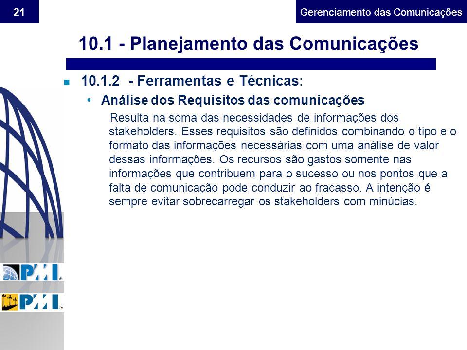 Gerenciamento do Escopo21Gerenciamento das Comunicações n 10.1.2 - Ferramentas e Técnicas: Análise dos Requisitos das comunicações Resulta na soma das
