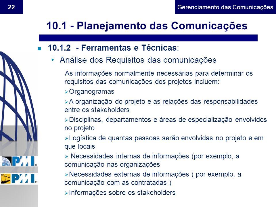 Gerenciamento do Escopo22Gerenciamento das Comunicações n 10.1.2 - Ferramentas e Técnicas: Análise dos Requisitos das comunicações As informações norm