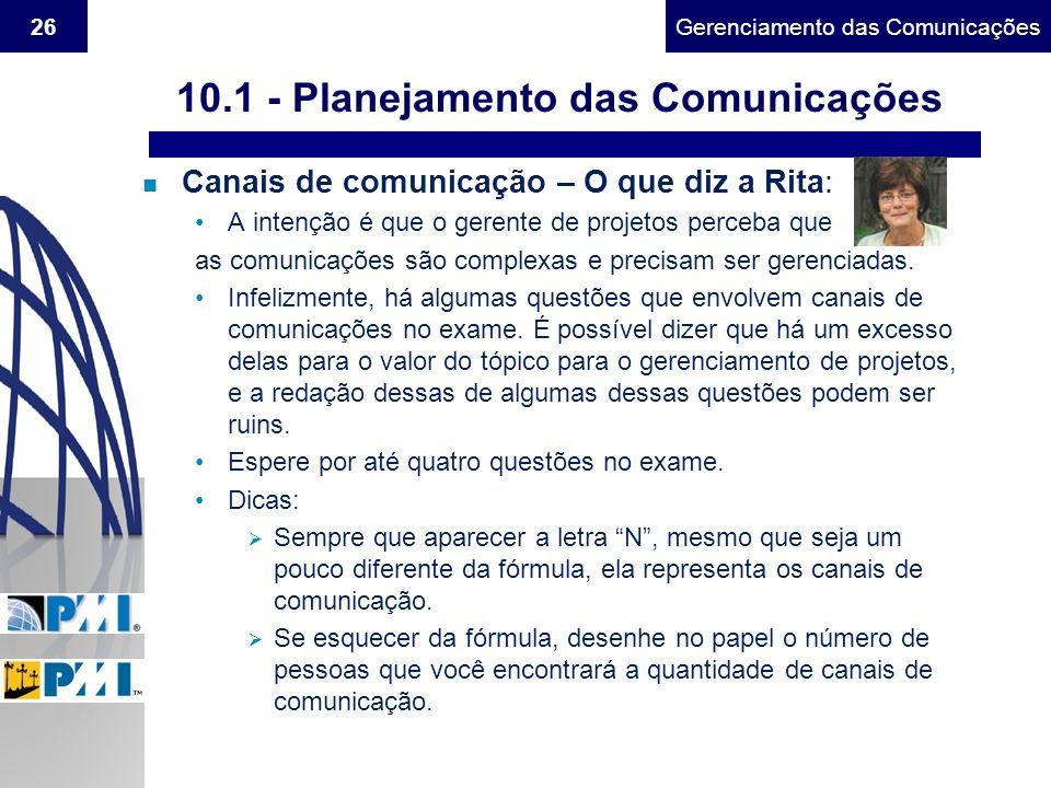 Gerenciamento do Escopo26Gerenciamento das Comunicações n Canais de comunicação – O que diz a Rita: A intenção é que o gerente de projetos perceba que