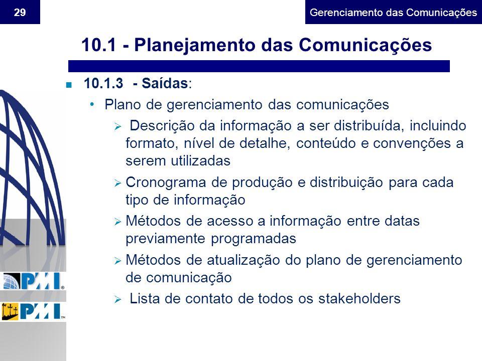 Gerenciamento do Escopo29Gerenciamento das Comunicações 10.1 - Planejamento das Comunicações n 10.1.3 - Saídas: Plano de gerenciamento das comunicaçõe