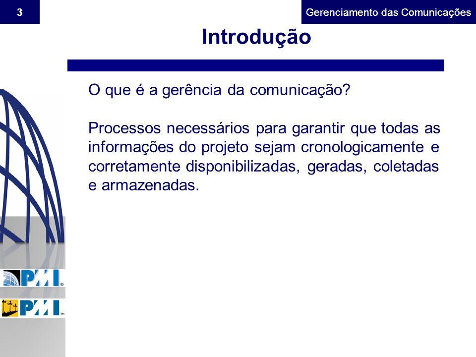 Gerenciamento do Escopo3Gerenciamento das Comunicações Introdução O que é a gerência da comunicação? Processos necessários para garantir que todas as