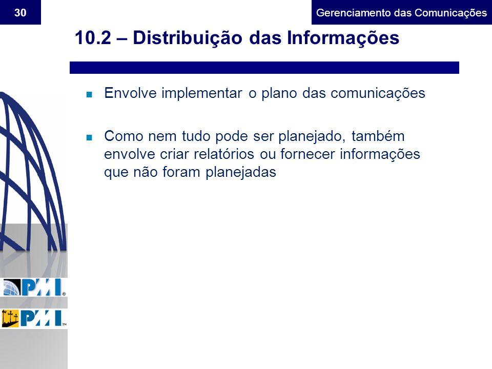 Gerenciamento do Escopo30Gerenciamento das Comunicações 10.2 – Distribuição das Informações n Envolve implementar o plano das comunicações n Como nem