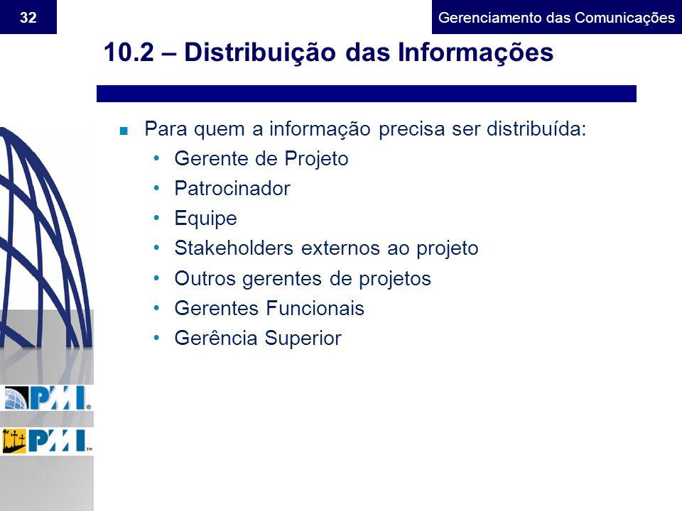 Gerenciamento do Escopo32Gerenciamento das Comunicações 10.2 – Distribuição das Informações n Para quem a informação precisa ser distribuída: Gerente