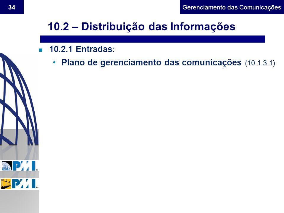 Gerenciamento do Escopo34Gerenciamento das Comunicações n 10.2.1 Entradas: Plano de gerenciamento das comunicações (10.1.3.1) 10.2 – Distribuição das