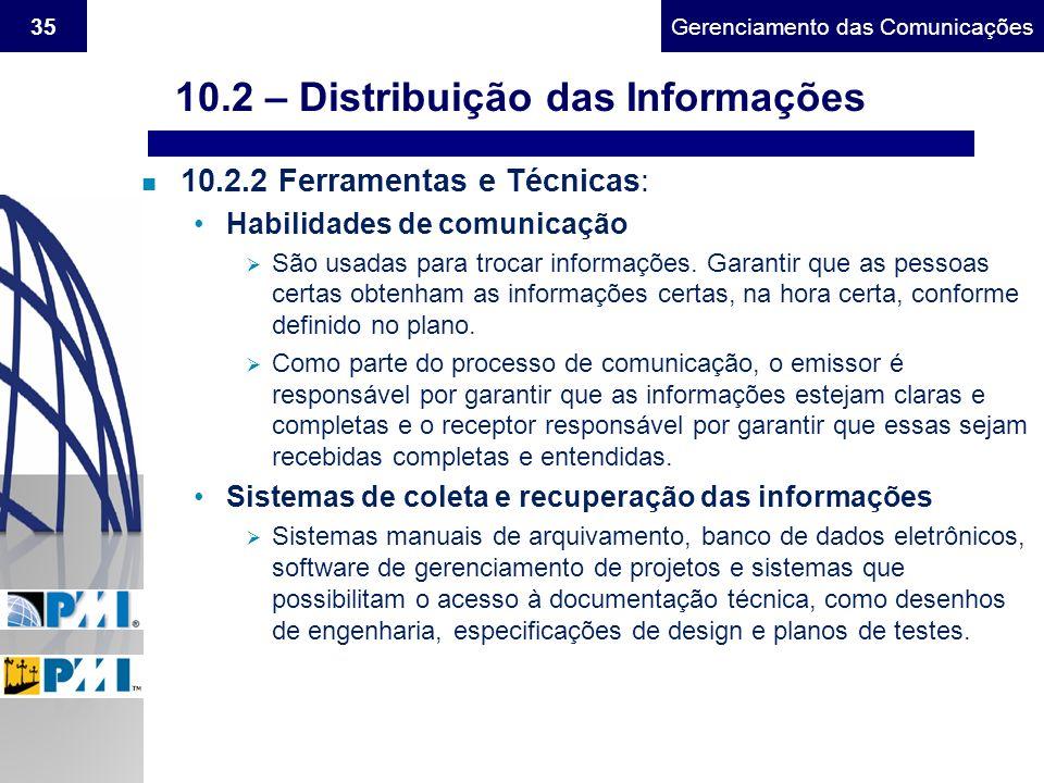 Gerenciamento do Escopo35Gerenciamento das Comunicações n 10.2.2 Ferramentas e Técnicas: Habilidades de comunicação São usadas para trocar informações
