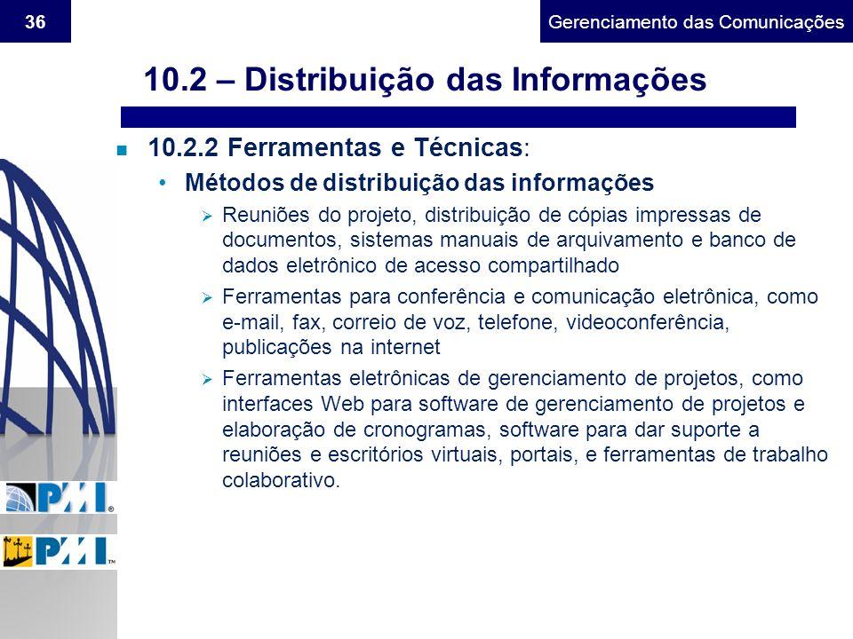 Gerenciamento do Escopo36Gerenciamento das Comunicações n 10.2.2 Ferramentas e Técnicas: Métodos de distribuição das informações Reuniões do projeto,