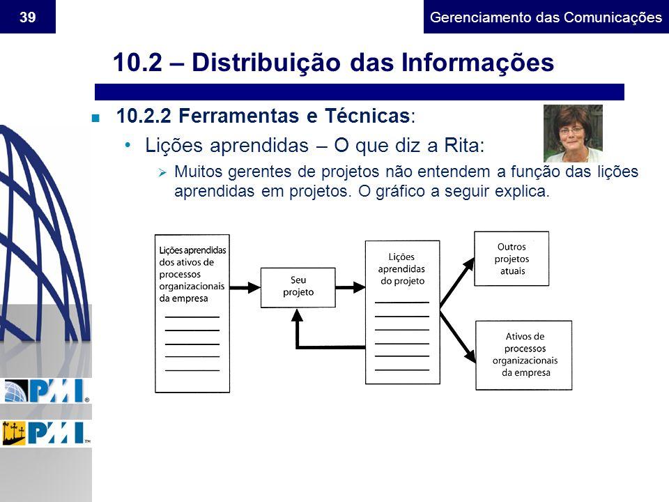 Gerenciamento do Escopo39Gerenciamento das Comunicações n 10.2.2 Ferramentas e Técnicas: Lições aprendidas – O que diz a Rita: Muitos gerentes de proj