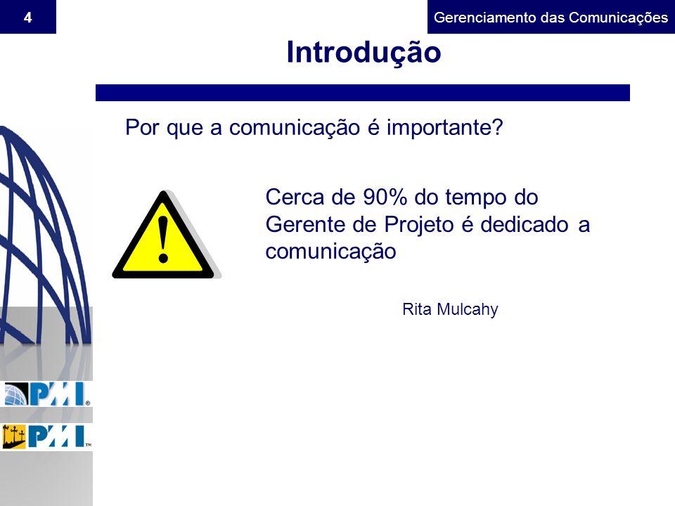 Gerenciamento do Escopo4Gerenciamento das Comunicações Introdução Por que a comunicação é importante? Cerca de 90% do tempo do Gerente de Projeto é de