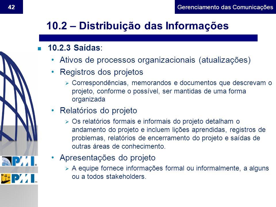 Gerenciamento do Escopo42Gerenciamento das Comunicações n 10.2.3 Saídas: Ativos de processos organizacionais (atualizações) Registros dos projetos Cor
