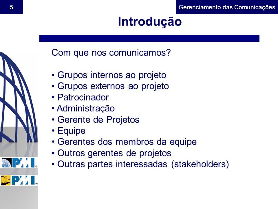 Gerenciamento do Escopo5Gerenciamento das Comunicações Introdução Com que nos comunicamos? Grupos internos ao projeto Grupos externos ao projeto Patro