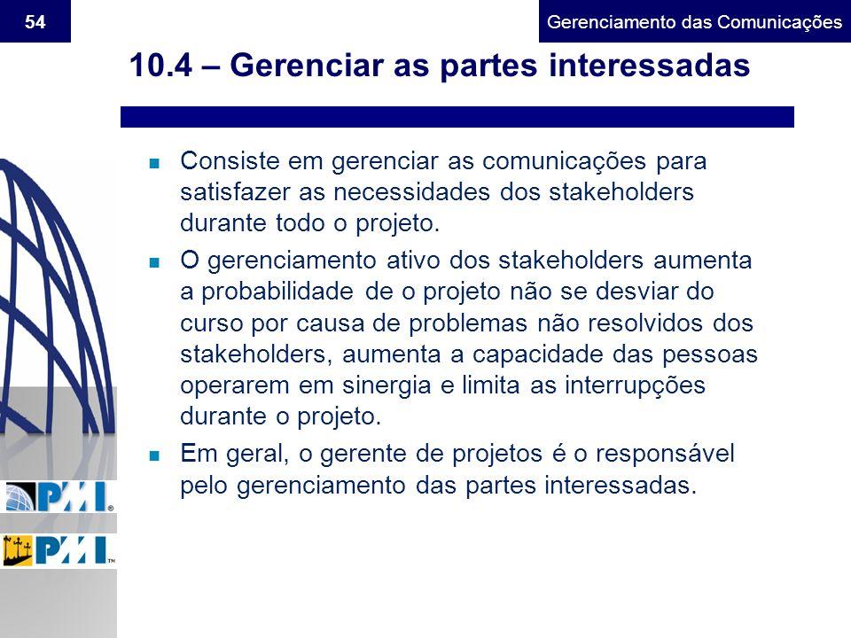 Gerenciamento do Escopo54Gerenciamento das Comunicações 10.4 – Gerenciar as partes interessadas n Consiste em gerenciar as comunicações para satisfaze