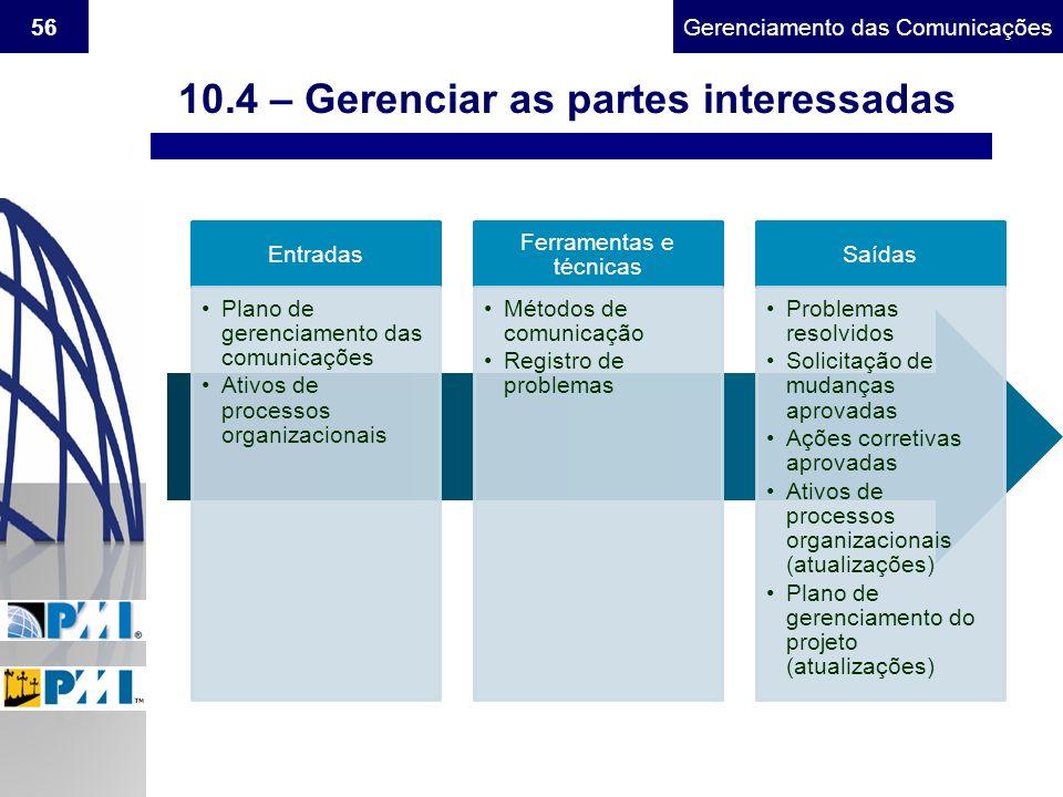 Gerenciamento do Escopo56Gerenciamento das Comunicações Entradas Plano de gerenciamento das comunicações Ativos de processos organizacionais Ferrament