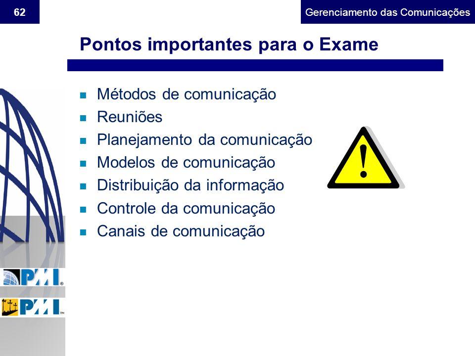 Gerenciamento do Escopo62Gerenciamento das Comunicações n Métodos de comunicação n Reuniões n Planejamento da comunicação n Modelos de comunicação n D