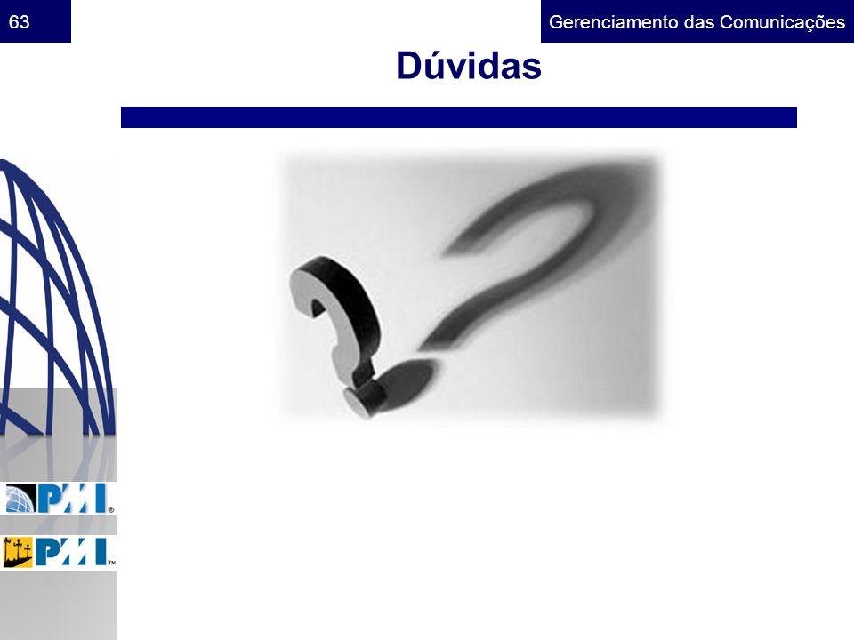 Gerenciamento das Comunicações63 Dúvidas