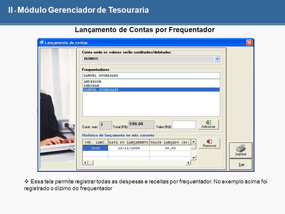 II - Módulo Gerenciador de Tesouraria Lançamento de Contas por Frequentador Essa tela permite registrar todas as despesas e receitas por frequentador.