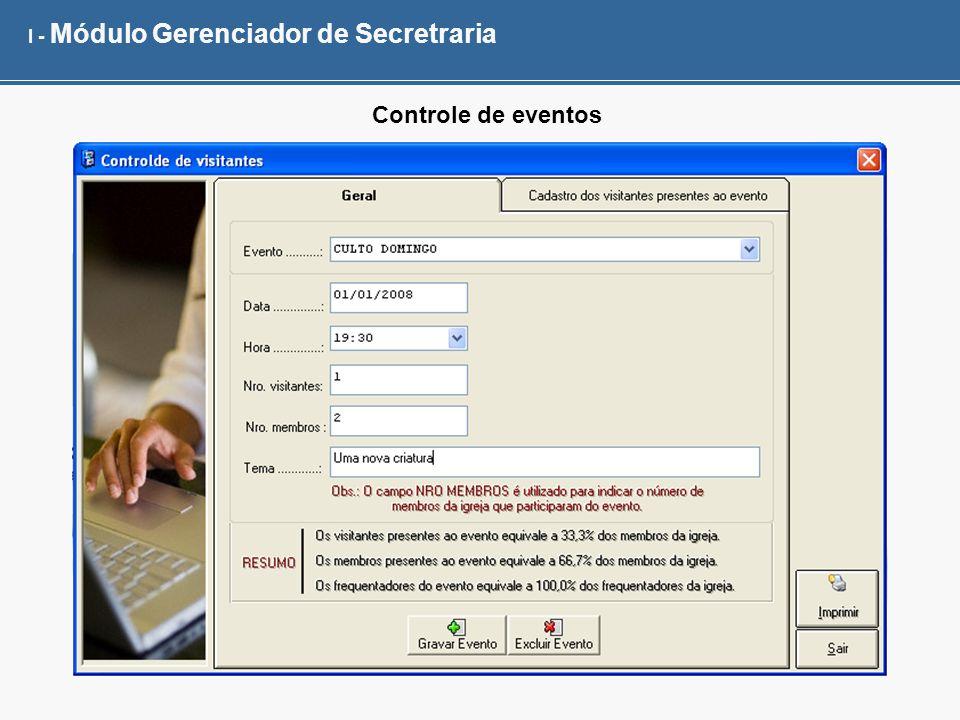 I - Módulo Gerenciador de Secretraria Controle de eventos