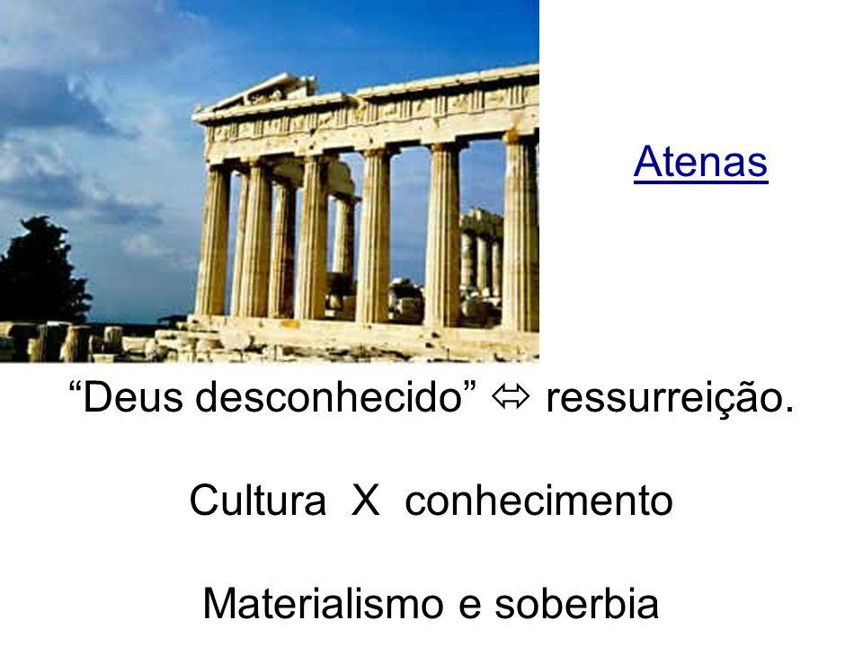 Atenas Deus desconhecido ressurreição. Cultura X conhecimento Materialismo e soberbia