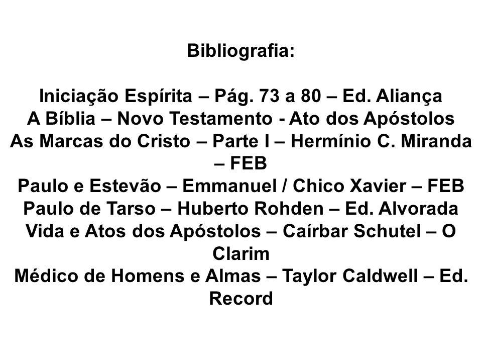 Bibliografia: Iniciação Espírita – Pág. 73 a 80 – Ed. Aliança A Bíblia – Novo Testamento - Ato dos Apóstolos As Marcas do Cristo – Parte I – Hermínio
