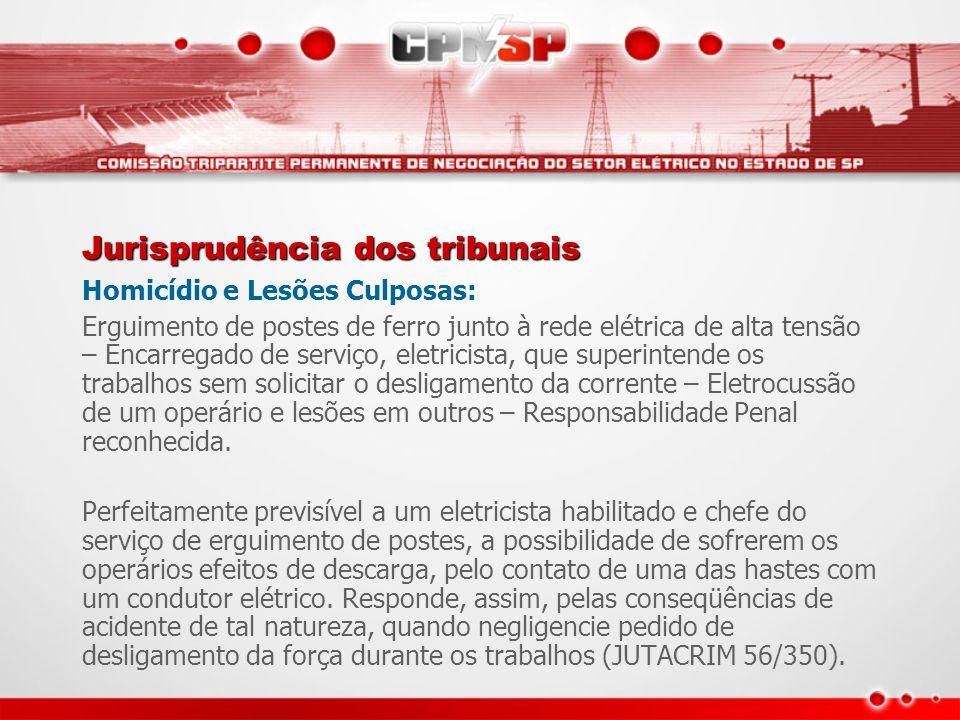 Jurisprudência dos tribunais Homicídio e Lesões Culposas: Erguimento de postes de ferro junto à rede elétrica de alta tensão – Encarregado de serviço,