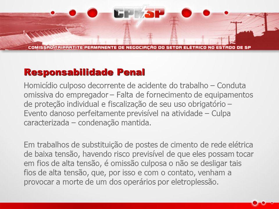 Responsabilidade Penal Homicídio culposo decorrente de acidente do trabalho – Conduta omissiva do empregador – Falta de fornecimento de equipamentos d