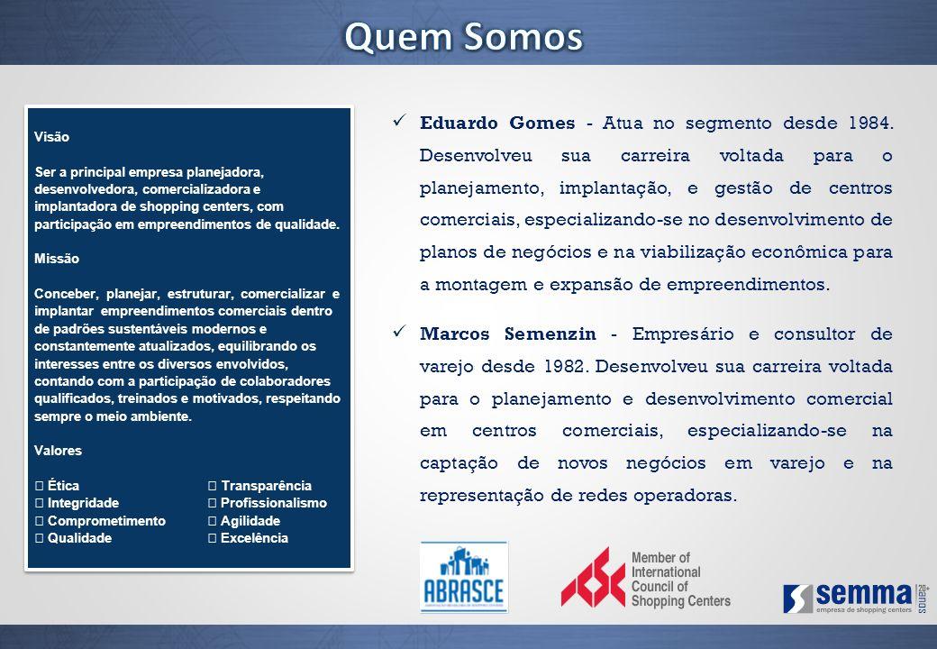 Eduardo Gomes - Atua no segmento desde 1984. Desenvolveu sua carreira voltada para o planejamento, implantação, e gestão de centros comerciais, especi