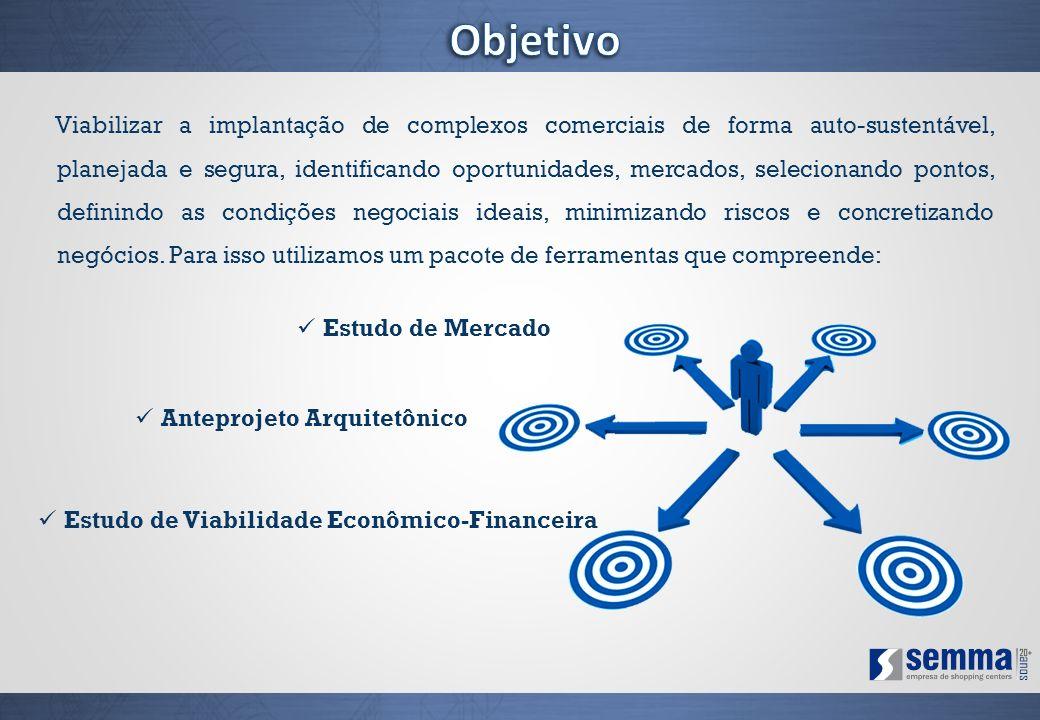 Viabilizar a implantação de complexos comerciais de forma auto-sustentável, planejada e segura, identificando oportunidades, mercados, selecionando po