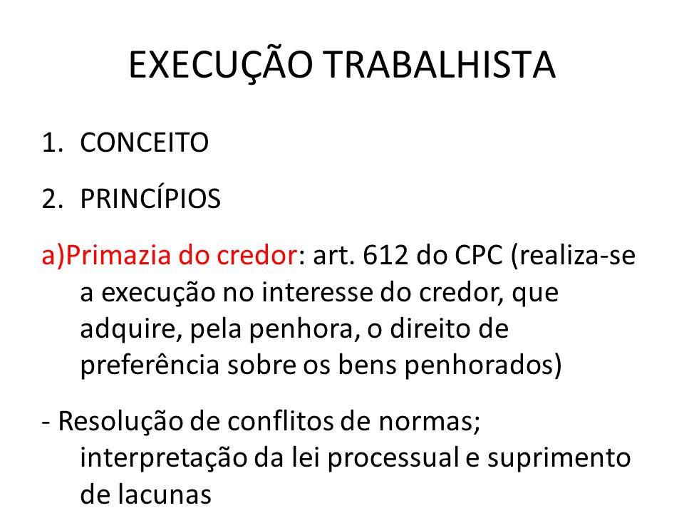 EXECUÇÃO TRABALHISTA 1.CONCEITO 2.PRINCÍPIOS a)Primazia do credor: art. 612 do CPC (realiza-se a execução no interesse do credor, que adquire, pela pe