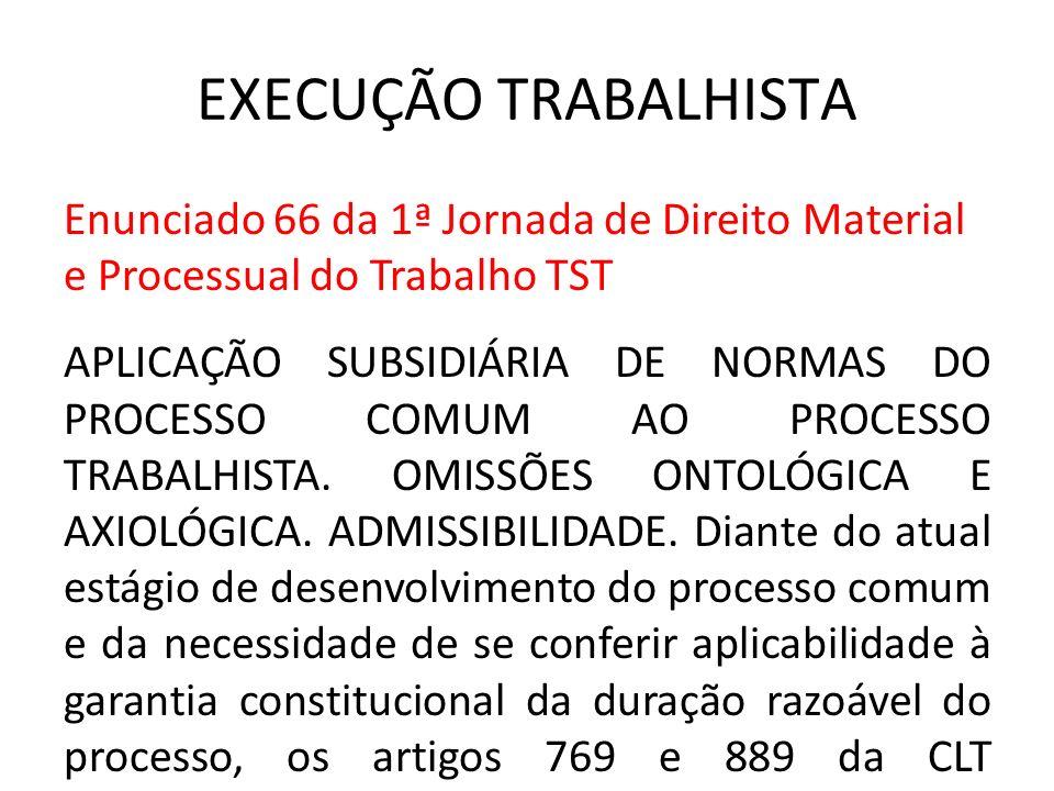 EXECUÇÃO TRABALHISTA Enunciado 66 da 1ª Jornada de Direito Material e Processual do Trabalho TST APLICAÇÃO SUBSIDIÁRIA DE NORMAS DO PROCESSO COMUM AO
