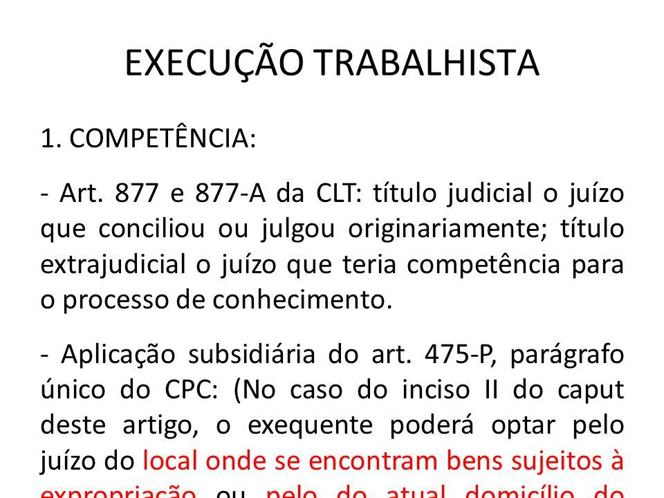 EXECUÇÃO TRABALHISTA 1. COMPETÊNCIA: - Art. 877 e 877-A da CLT: título judicial o juízo que conciliou ou julgou originariamente; título extrajudicial