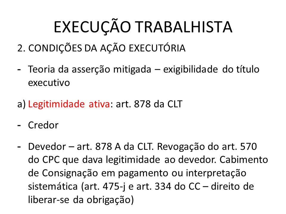 EXECUÇÃO TRABALHISTA 2. CONDIÇÕES DA AÇÃO EXECUTÓRIA - Teoria da asserção mitigada – exigibilidade do título executivo a)Legitimidade ativa: art. 878
