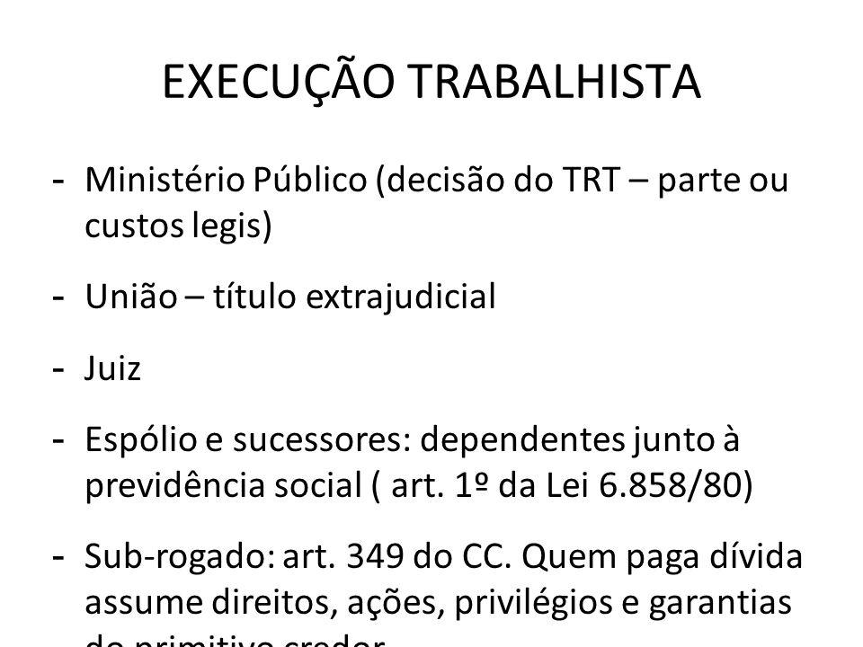 EXECUÇÃO TRABALHISTA - Ministério Público (decisão do TRT – parte ou custos legis) - União – título extrajudicial - Juiz - Espólio e sucessores: depen