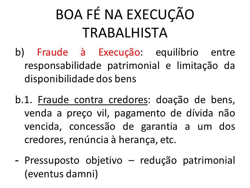 BOA FÉ NA EXECUÇÃO TRABALHISTA b) Fraude à Execução: equilíbrio entre responsabilidade patrimonial e limitação da disponibilidade dos bens b.1. Fraude