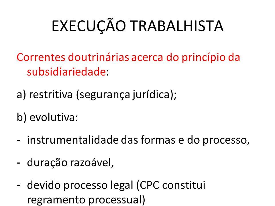 EXECUÇÃO TRABALHISTA Correntes doutrinárias acerca do princípio da subsidiariedade: a) restritiva (segurança jurídica); b) evolutiva: - instrumentalid