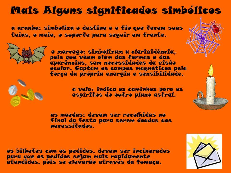 Alguns significados simbólicos a abóbora: simboliza a fertilidade e a sabedoria o caldeirão: fazia parte da cultura - como mandaria a tradição.
