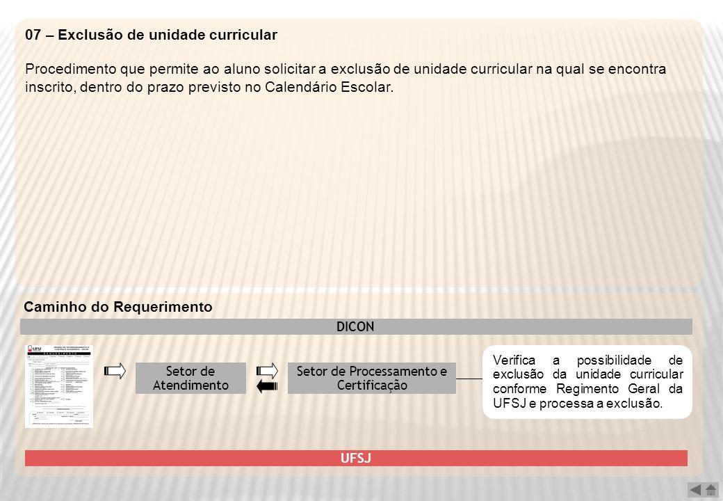 07 – Exclusão de unidade curricular Procedimento que permite ao aluno solicitar a exclusão de unidade curricular na qual se encontra inscrito, dentro
