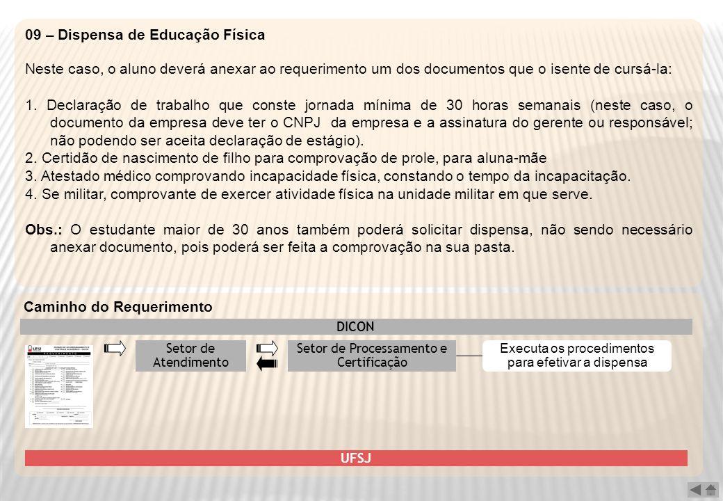 09 – Dispensa de Educação Física Neste caso, o aluno deverá anexar ao requerimento um dos documentos que o isente de cursá-la: 1. Declaração de trabal
