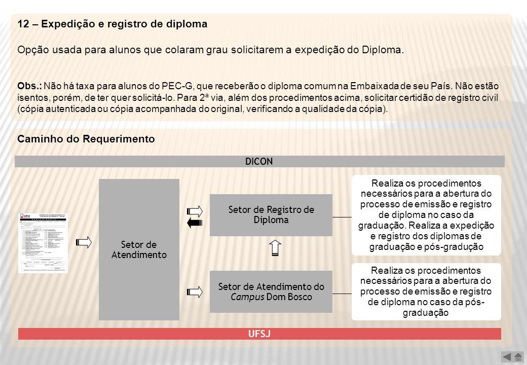 12 – Expedição e registro de diploma Opção usada para alunos que colaram grau solicitarem a expedição do Diploma. Obs.: Não há taxa para alunos do PEC