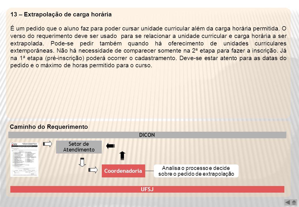 13 – Extrapolação de carga horária É um pedido que o aluno faz para poder cursar unidade curricular além da carga horária permitida. O verso do requer