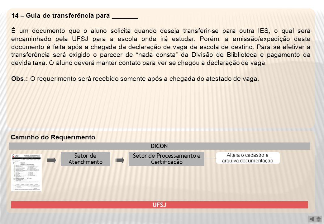 14 – Guia de transferência para _______ É um documento que o aluno solicita quando deseja transferir-se para outra IES, o qual será encaminhado pela U