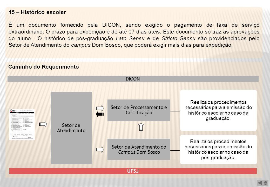 15 – Histórico escolar É um documento fornecido pela DICON, sendo exigido o pagamento de taxa de serviço extraordinário. O prazo para expedição é de a