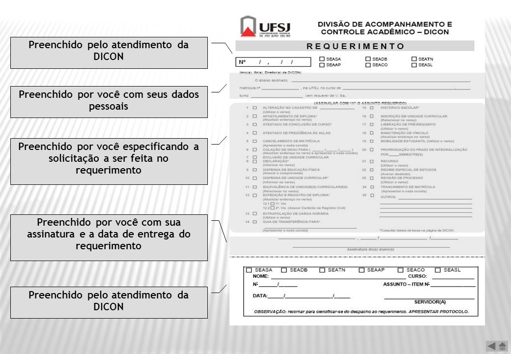 Preenchido pelo atendimento da DICON Preenchido por você com seus dados pessoais Preenchido por você especificando a solicitação a ser feita no requer
