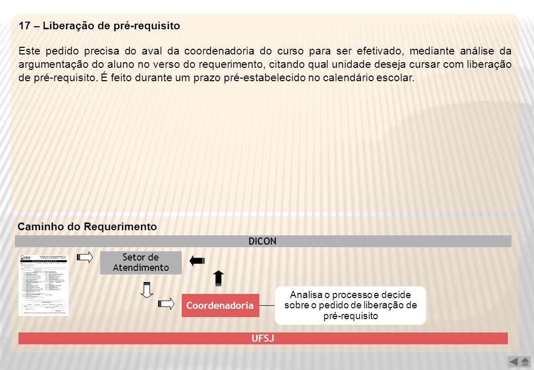 17 – Liberação de pré-requisito Este pedido precisa do aval da coordenadoria do curso para ser efetivado, mediante análise da argumentação do aluno no