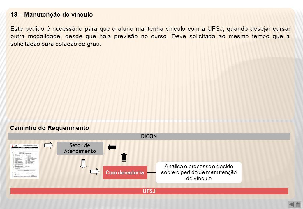 18 – Manutenção de vínculo Este pedido é necessário para que o aluno mantenha vínculo com a UFSJ, quando desejar cursar outra modalidade, desde que ha