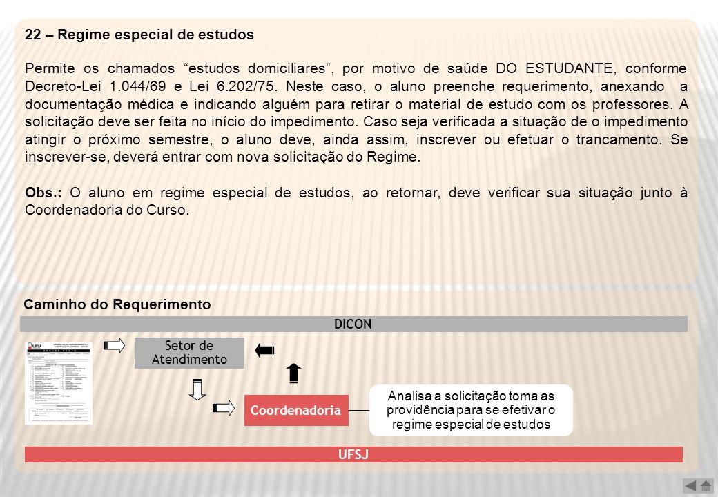22 – Regime especial de estudos Permite os chamados estudos domiciliares, por motivo de saúde DO ESTUDANTE, conforme Decreto-Lei 1.044/69 e Lei 6.202/