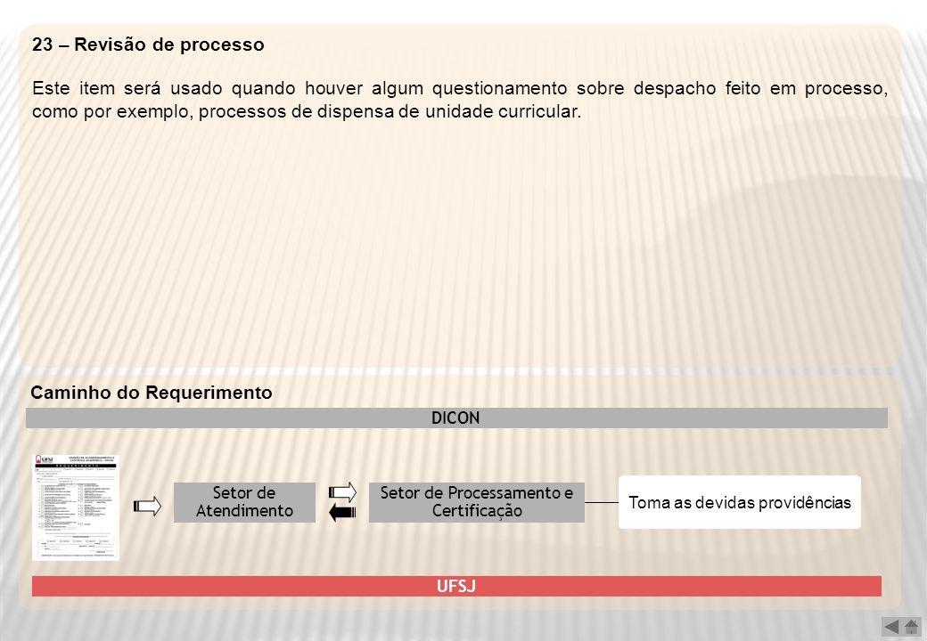 23 – Revisão de processo Este item será usado quando houver algum questionamento sobre despacho feito em processo, como por exemplo, processos de disp