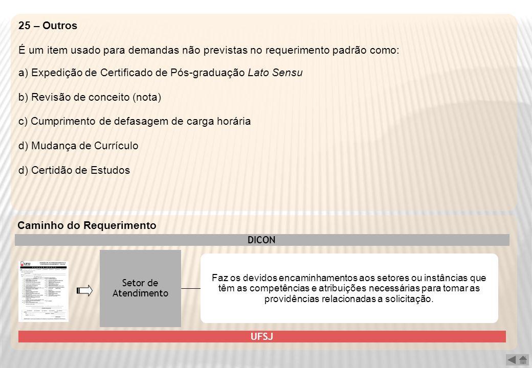 25 – Outros É um item usado para demandas não previstas no requerimento padrão como: a) Expedição de Certificado de Pós-graduação Lato Sensu b) Revisã