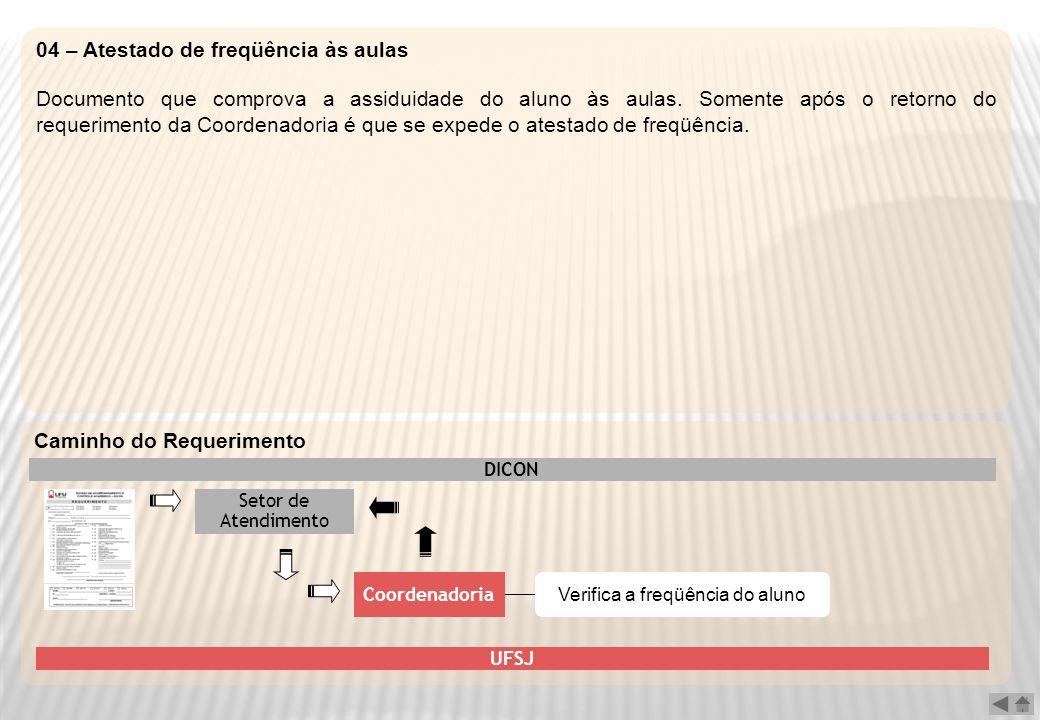 04 – Atestado de freqüência às aulas Documento que comprova a assiduidade do aluno às aulas. Somente após o retorno do requerimento da Coordenadoria é